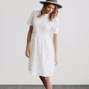 Anthropologie Clad & Cloth White Lace Dress